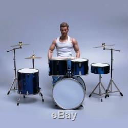 1/6 Scale Complete Drum Set Musical Instrument for 12 Action Figure blue
