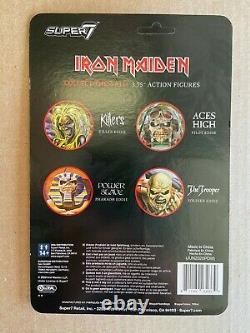 Iron Maiden Super7 ReAction 3.75 Action Figures Eddie Set of 4 Unpunched MOC