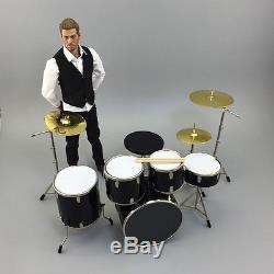 NEW 1/6 Scale Drum Set Drum Kit Black Musical Instrument Pack