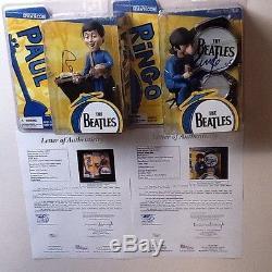Paul mcCartney Ringo Starr signed autograph mcfarlane Beatles cartoon figure JSA