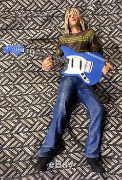 Rare KURT COBAIN 18-INCH NECA FIGURE WITH BLUE FENDER STILL PLAYS NIRVANA TUNES