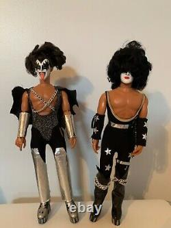 Vintage 1977 KISS Gene Simmons and Paul Stanley Complete MEGO Doll Action Figure