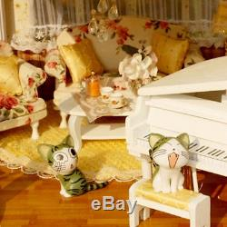 Wooden Dollhouse Miniatures DIY House Kit with Led Light and Music Large villa